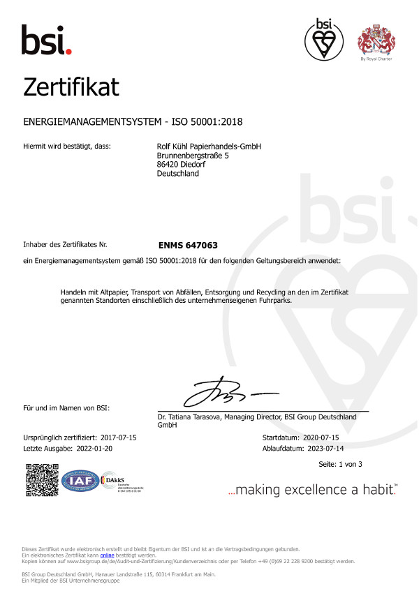 Energiemanagement ISO50001 2011
